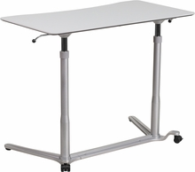 Light gray desk for sitting or standing