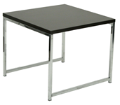 Square modern end table for office reception area has wooden surface and metal legs
