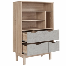 oak wood home office cabinet, top half shelves, bottom gray closed drawers