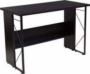 Black laminate computer desk with partial privacy panel