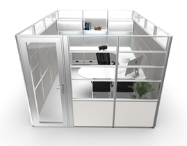 Private Office Cubicles with Glass & Door
