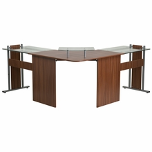 L shaped wooden desk with glass monitor playform sliding keyboard tray and silver frame