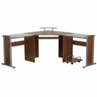 Spacious L shaped wooden desk with glass monitor platform keyboard tray