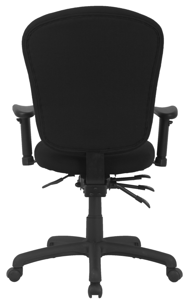 Black office chair with padded seat and arms