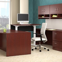 Cherry wood veneer office desk and hutch for sale in Milwaukee