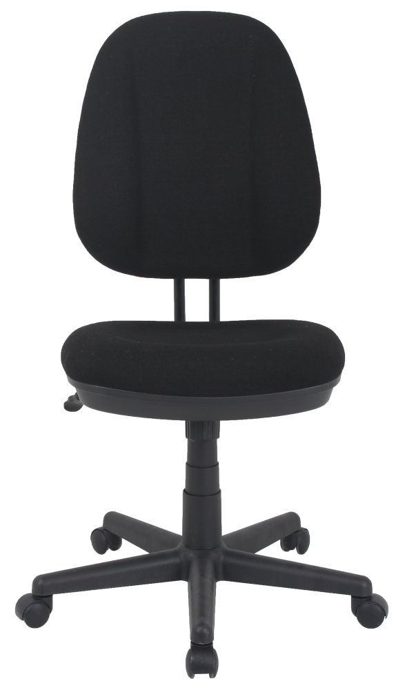 Mid back black fabric office chair with wheels