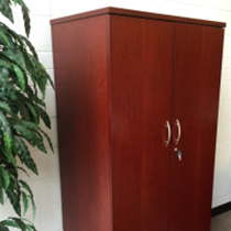 Wooden office storage cabinet with doors and a lock