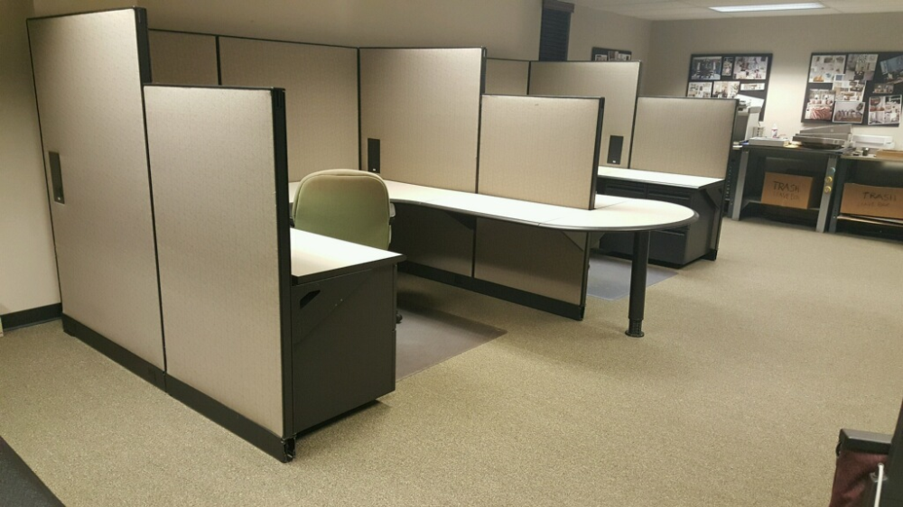 Herman Miller cubicles with U-shaped desks installed in Waukesha office