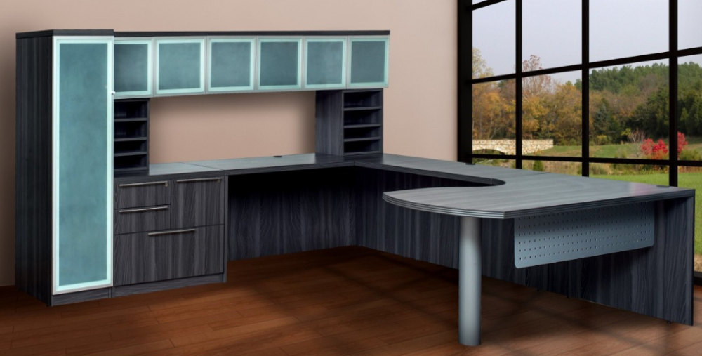 executive desk set in grey woodgrain including hutch, storage and doors
