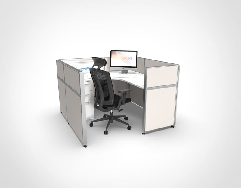 Sliding Cubicle System - White