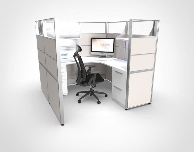 6x6 White Sliding Cubicle | Workstation