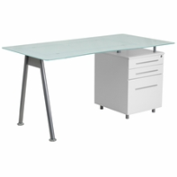 Frosted glass-topped desk with silver frame
