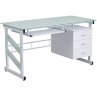 Modern rectangular white desk with sliding keyboard tray hanging pedestal drawers and frosted glass surface
