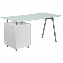 Modern frosted glass topped desk with pedestal storage