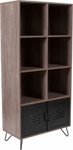 tall Rustic wood office storage cabinet with 6  shelves and 2 bottom metal doors
