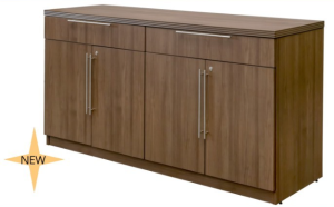 office credenza by status laminate series with drawers, doors and locks