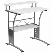 White laminate computer desk with silver powder frame