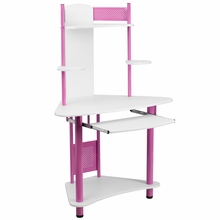 pink framed computer desk with white top and hutch
