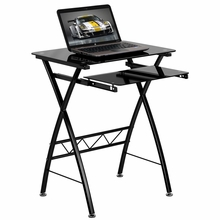 black glasstop desk with pull-out tray and crossing metal legs
