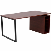Mahogany laminate computer desk with open storage