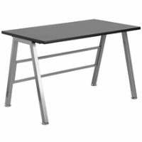 Black laminate computer desk without storage space