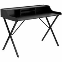 Black laminate computer desk with top shelf