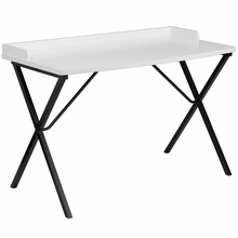 White laminate computer desk with raised rim