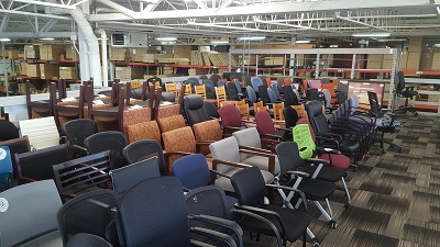 used office chairs and client seating on display in Waukesha